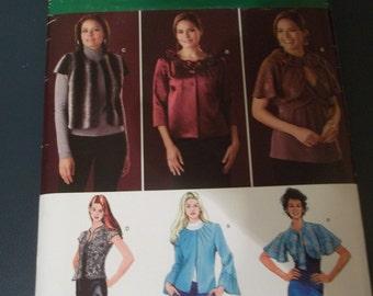 Simplicity 2730 Jacket Pattern, Shrug, Capelet, Bolero, Cape Pattern Size 8-16
