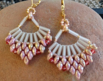 Off the Beaded Path, Beadwork Fan Earrings, Super Duo Earrings, Pink Coral Earrings, Boho Chic, Hippie, Hipster, Swarovski Crystals