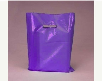 Valentines Day Sale 50 Pack Handle Cut Out Opaque Purple Plastic Merchandise Retail Bags