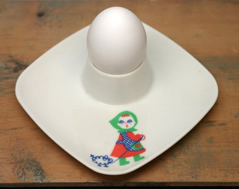 Egg Cup Plate by Voluform France - Mary had a Little lamb - Child egg cup - vintage