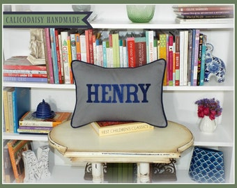 JUMBO Harper Font Name or Word Personalized Pillow Cover - Lumbar Size 12 x 16