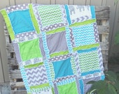 Boy Baby Quilt, Elephant, Chevron, and Polka Dot in Turquoise, Green, and Gray, Small Crib Quilt