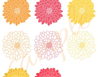 PDF Chrysanthemum Flower Clip Art