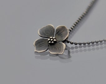 Tiny Sterling Silver Dogwood Blossom Necklace - Dogwood Flower Pendant - Nature Jewelry