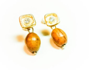 Isabel Post Wood and Glass Earrings