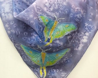 Hand Painted Original Silk Scarf  - Luna Moths - Kauai  Hawaiian - Square Silk Scarf - Silk Scarves - Birthday Gifts for Her - Butterflies