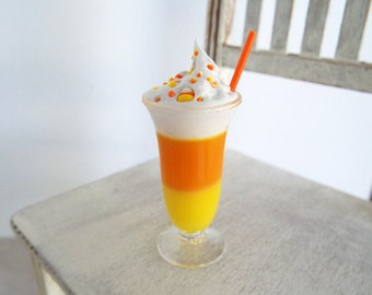 1:4 Scale Parfait Shake Candy Corn Colors Topped with Dollop of Whipped Cream, Sprinkles, Straw - Miniatures for Larger Fashion Dolls & BJDs
