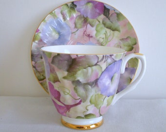 Staffordshire England Fine China Cup and Saucer, Mayfair, Morning Glories