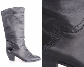 size 5.5 | Vintage Black Leather Boots | Peter Kaiser Tall Calfskin Boots | Leather Lined Slouch Boots | 35.5