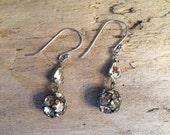 Vintage Repurposed Rhinestone earrings on Sterling Silver, Long Dangle Earrings, gifts for her, gifts under 20, Vintage flapper Earrings