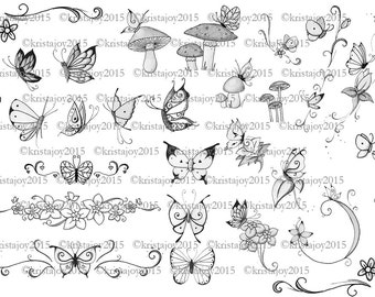 Butterflies, Flowers and Mushrooms Hand Drawn Instant Digital Download Flash Sheet Collage