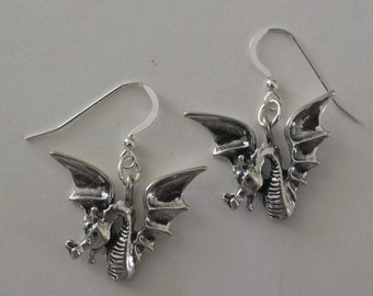 Sterling Silver DRAGON Earrings  - French Earwires - Renaissance, Celtic, Fantasy