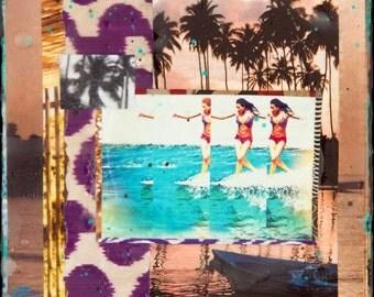 Hawaiian Tropic, 8x8 and Up, Giclee, Palm Trees, Rainbow, Waikiki, Aloha, Hawaii, Hawaiian Art, North Shore, Love, Ocean Art, Wall Art