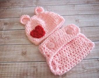 Baby Bear Hat, Baby Girl Hat, Baby Valentines Hat, Girl Diaper Cover, Baby Diaper Cover, Baby Girl Outfit, Newborn Girl Hat, Pink Infant Hat