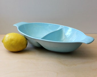 Pebbleford Turquoise. Taylor Smith Taylor blue divided vegetable bowl. Mid century modern design.