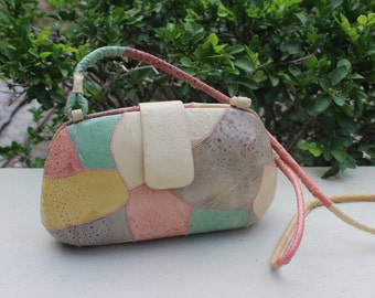 RARE Anthony Paul Frog Skin clutch in pastel