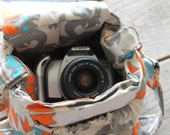 For Renee: Custom Camera Bag with camera strap cover in Rosa Dossett Mandarin by Watermelon Wishes
