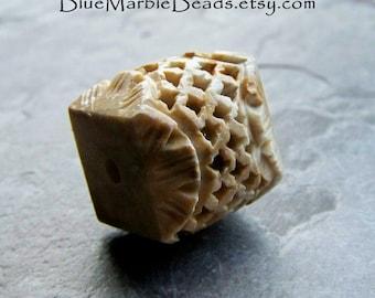 Carved Bead, Carved Stone Bead, Square Bead, Lattice, Unique Bead, Hand Carved Bead, Boho Bead, Tribal Bead, 1 Bead