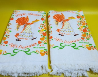 vintage | holly hobbie kitchen hand terry towels