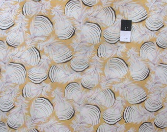Martha Negley PWMN088 Westwood Duck Feathers Gold Cotton Fabric 1 Yard