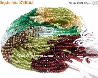 55% OFF SALE AAA lazer drilled Multi-stone faceted rondelles 3 - 3.5mm 14 inch strand of peridot green onyx garnet aquamarine citrine