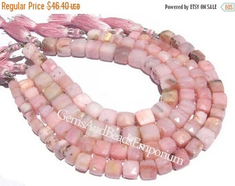 55% OFF SALE 1/2 Strand - 5 - 9mm Finest Quality Pink Peruvian Opal Faceted 3D Cubes Briolettes