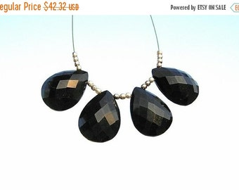 50% Off Valentine day Black Spinel Faceted Pear Shaped Briolettes 2 Matched Pair 4 Pieces Size 20x15mm approx