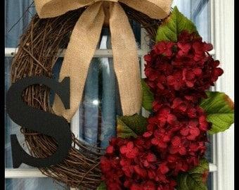 Monogram Wreath Burlap Wreath Front Door Wreath Fall Wreath Initial Wreath Spring Wreath Summer Wreath Letter Wreath Hydrangea Wreath