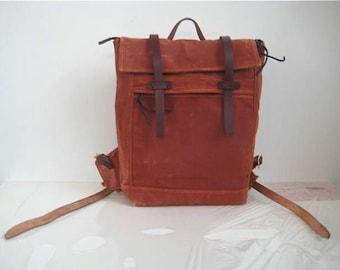Waxed Canvas Backpack No 2 Medium Zipper Closure Leather