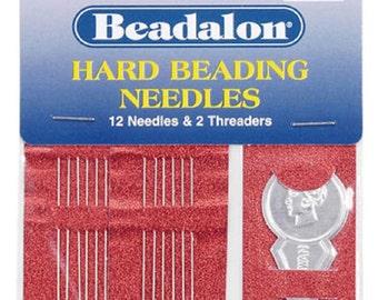 Size 10 Beadalon Hard Beading needles & Threader Bead Craft fnt