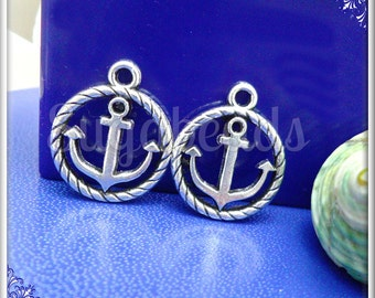 10 Antiqued Silver Anchor Charms 19mm PS4