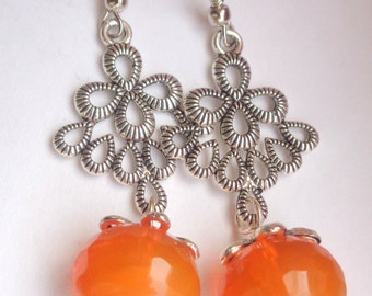 Orange Earrings, Orange Chalcedony Earrings, Orange Dangle Earrings, Gemstone Earrings