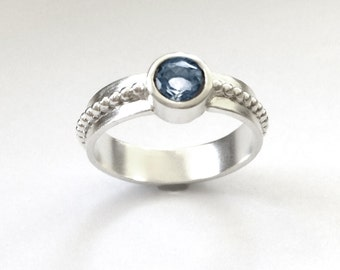 Faceted Blue Topaz and SilverRing Size 8 1/2