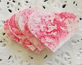 Pink Hand Painted Hearts, Paper Embellishments Small Pk 30 - Wedding, Valentines Day, Table Decor