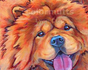 CHOW CHOW Dog Portrait Original Art Painting on Canvas 8x8 Square by Lynn Culp