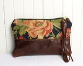Leather Zip Clutch Bag in Navy Floral and Dark Brown Genuine Leather Clutch Bag