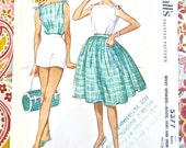 Vintage 1960s Shoulder Tied Blouse, Shorts, and Full Skirt Pattern - McCalls 5377
