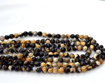 Black and Gold 4mm Agate Faceted Round Beads  15 inch strand