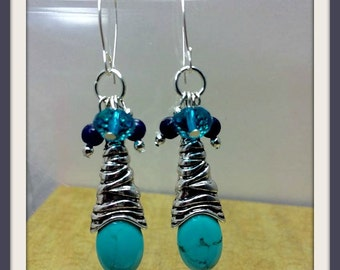 Bohemian Earrings Long Turquoise Magnasite Gemstones Blue Crystals Cluster Sterling Silver Handcrafted Ear Wires