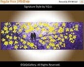 """Birds painting Palette Knife yellow Flower Love Birds wall art wall hangings """"Evening Romance"""" by QIQIGALLERY"""