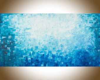 """Original large blue painting Abstract painting modern abstract large wall Art canvas art mixed home decor wall art """" Healing"""" by qiqigallery"""
