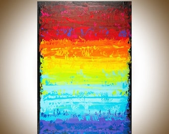 """Large wall art Abstract painting acrylic wall decor rainbow abstract canvas art home decor wall hanging """"Before Dusk"""" by QIQIGALLERY"""