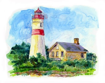 Watercolor of lighthouse - painting with blue sky - Giclee from Original
