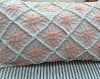 Vintage Chenille Down Pillow Cottage Chic Shabby Chic Beach Baby Nursery
