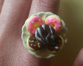Donut Plate Ring, Miniature food Jewelry, Polymer clay, breakfast