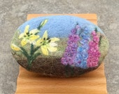 Felted Goat Milk Soap - Lavender Essential Oil Scented with a Floral Landscape Theme
