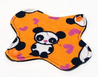 Reusable Cloth winged ULTRATHIN Pantyliner - 6 Inch - Orange Panda -Cotton flannel top
