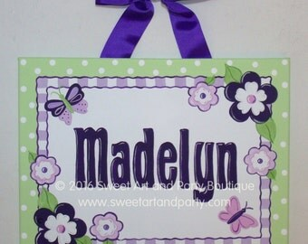 Personalized Lavender purple Lime Green Flowers Custom canvas name door sign wall art baby nursery kids hand painted dots children decor