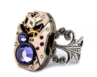 Purple Tanzanite Steampunk Ring December Birthstone Swarovski Crystal Steampunk Jewelry Steam Punk Ring designed by London Particulars