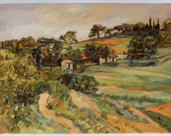 Landscape in Provence - Paul Cezanne hand-painted oil painting reproduction,jutting rock formations landscape,quarry geological strata scene